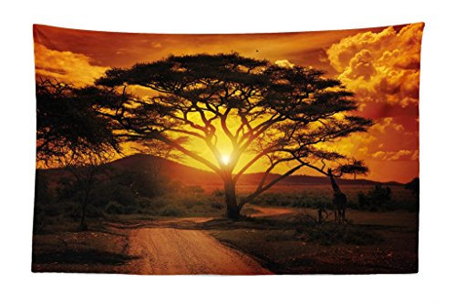 Lunarable Sunset Tapestry, Majestic African Tree with Horizon Background Mystic Nature Dramatic Landscape, Fabric Wall Hanging Decor for Bedroom Living Room Dorm, 45 W X 30 L inches, Orange Black