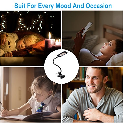 JMLED Led Clip Desk Lights,USB Charging Port Reading Lamps with 6 Brightness Level for Reading Working Writing Studying Sleeping by JMLED (Image #4)