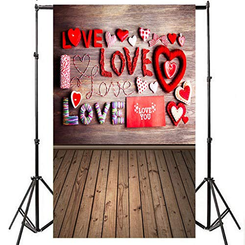 Yattafasion Valentine's Day Love Heart Photography Backdrop Vinyl Photo Background Prop Gift