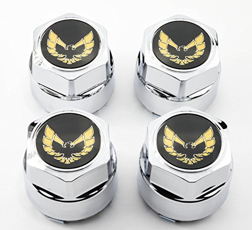 Set Pontiac Firebird - GM Restoration Set of 4 New 77-81 Pontiac Firebird Trans Am TA Snowflake Turbo Wheel Chrome Center Caps Gold Bird