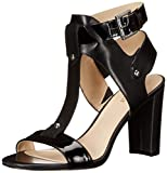 Ankle strap with buckle closure. Open toe. T-strap silhouette. Man-made lining. Padded footbed. Wrapped block heel. Man-made sole.