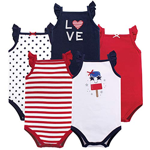 (Hudson Baby Unisex Baby Sleeveless Cotton Bodysuits, Shining Stars & Stripes 5-Pack, 9-12 Months (12M))