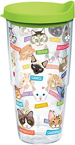 Tervis 1217079 Flat Art - Cats Tumbler with Wrap and Lime Green Lid 24oz, Clear