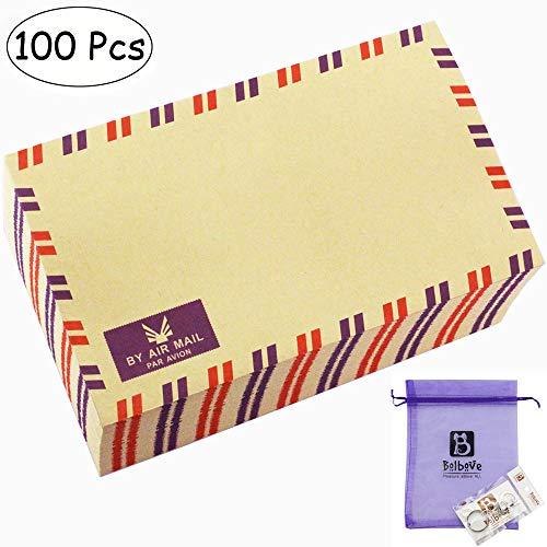Bolbove Set of 100 AirMail Cute Retro Kraft Paper Postcard Letter Envelopes Invitations (Brown 100 Pcs)