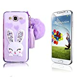 J7 Case, Galaxy J7 Case, Bonice Crystal Soft TPU Cartoon Rabbit Bling Diamond Ear Kickstand Silicon Case with Hairball Pompon Wristlet Hand Strap for Samsung Galaxy J7 (2015) +Screen Protector, Purple