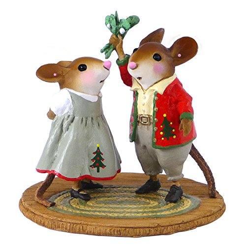 Wee Forest Folk Miniature Mouse Figurine - Under the Mistletoe made in Massachusetts