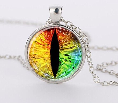 Bestselling Colorful Dragon Eye Pendant Necklace Cat Eye Glass Dome Cabochon Pendant Necklaces Art (Eye Cabochon Pendant)