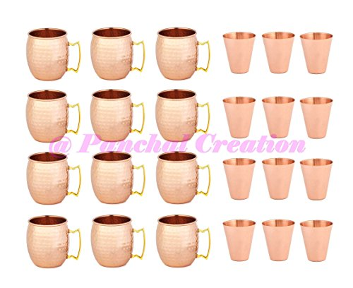 Set of 12 Moscow Mule Copper Mugs 16 OZ - 12 Copper Shot Glass Included Panchal Creation by Panchal Creation