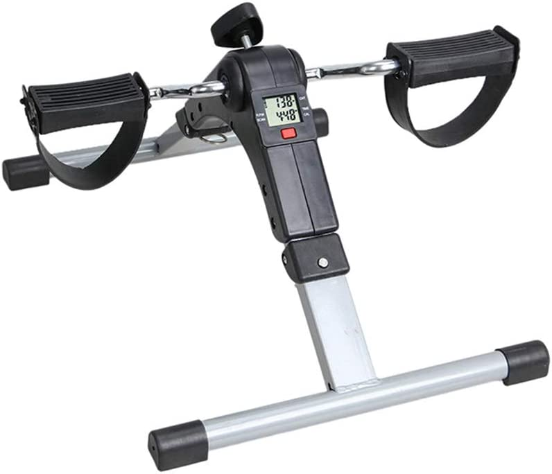 HJUN Ejercitador de Pedal Plegable Ejercitador de Pedal de Bicicleta portátil Resistencia Ajustable y Pantalla Digital LED para Ejercicios de piernas y Rodillas: Amazon.es: Deportes y aire libre