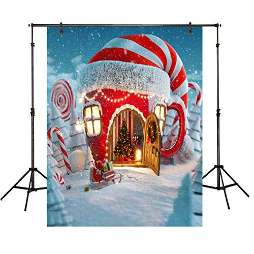 Funnytree 7x5ft Vinyl Christmas Candy Cup House Photography Backdrop Snow Pine Tree Red and White Stripes Background Children Newborn Baby Portrait Photo Studio Photobooth Props -