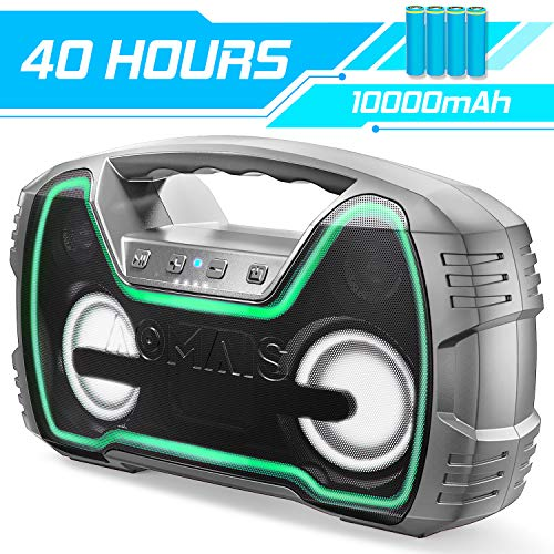 Bluetooth Speakers, AOMAIS 40-Hour Playtime Portable Outdoor Wireless Speaker with 10000mAh Battery,25W Louder Volume & Deeper Bass丨 IPX7 Waterproof 丨LED Lights for Party, Beach[2019 Newest]-Grey (Best Bluetooth Speaker Bass 2019)