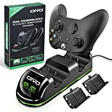 OIVO Xbox One/S/X/Elite Controller Charger, Fast Dual Charging Station Updated LED Stap, Remote Charger Dock - 2 Rechargeable Battery Packs Included