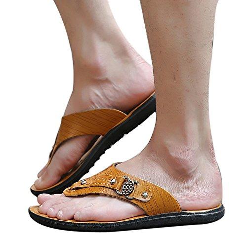 Flip Cómodos Suave Zapatos De Sandalia Zapatillas ALIKEEYHombres Playa Flops Zapatos Verano Playa Amarillo wYHqAaI