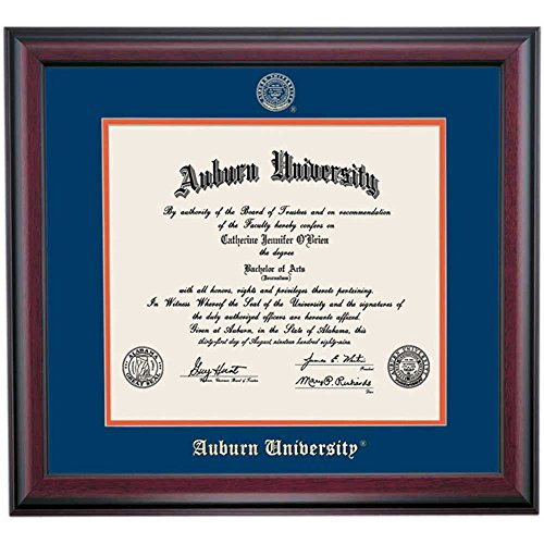 Campus Linens Auburn Tigers Diploma Frame Blue Orange Matting Embossed Seal (Diploma Auburn Frame)