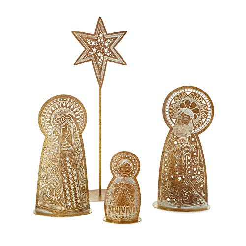 Pierced Metal Holy Family Nativity Set, 4 Pieces Figurines Religious ()