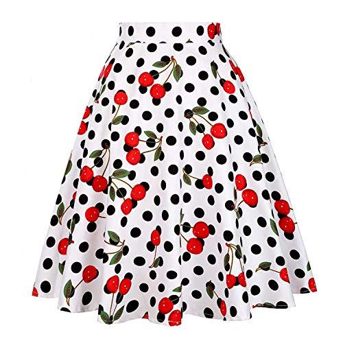Reveryml Femme Jupes Femmes Jupes Taille Haute Jupe Vintage Jupe Patineuse Jupe Midi Faldas Taille Plus Mujer Cherry Dot