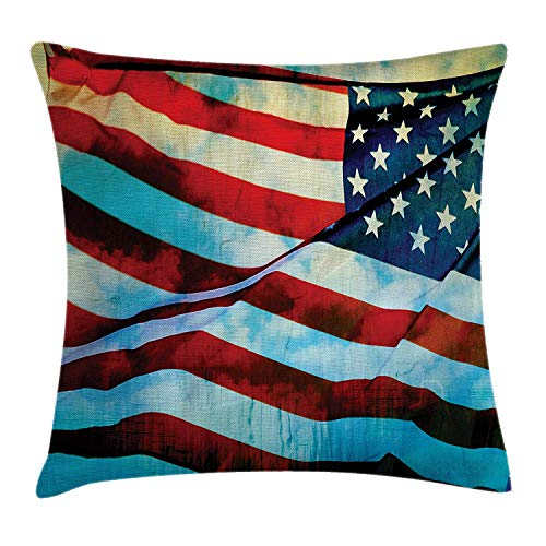 (American Flag Decor Throw Pillow Cushion Cover, American Flag in The Wind on Flagpole Memorial Patriot History Image, Decorative Square Accent Pillow Case, 18 X 18 Inches, Blue Red)