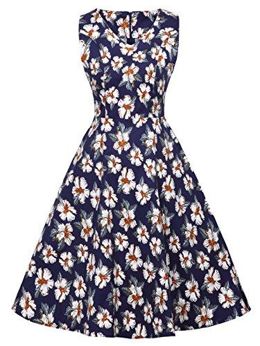DRT072 Flores 3XL Vintage COUPLE Rockabilly Blancas Marino de Baile 1950S FAIRY Lunares Azul Vestido 8OqRqx1