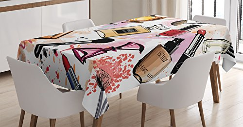 Tablecloth Ambesonne Cosmetic Lipstick Rectangular