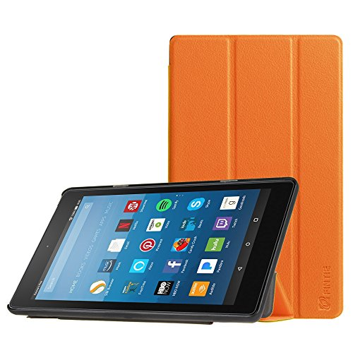 Fintie Slim Case for All-New Amazon Fire HD 8 Tablet (7th Generation, 2017 Release), Ultra Lightweight Slim Shell Standing Cover with Auto Wake / Sleep, Orange