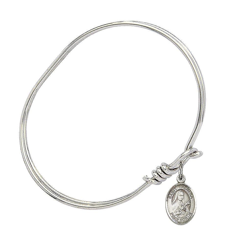 Theresa Charm On A Child Sized 5 3//4 Inch Oval Eye Hook Bangle Bracelet St