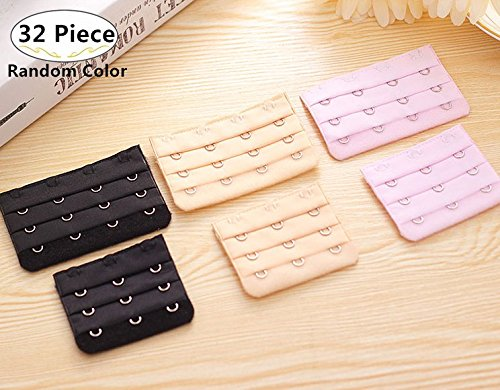 32 Piece Women Bra Extenders, Magnolora 4 Hooks 3 Rows and 3 Hooks 3 Rows Bra Hook Extenders Elastic Stretchy Bra Extension Strap for Women, 4 Colors