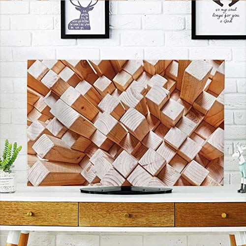 (tv Protective Cover Natural Wooden Rustic Square Figures High and Low Oak Logs Timbre tv Protective Cover W32 x H51 INCH/TV 55