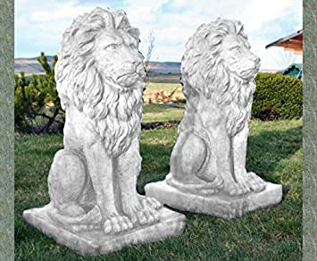 Pair Of Large Sitting White Stone Lions Garden Ornaments