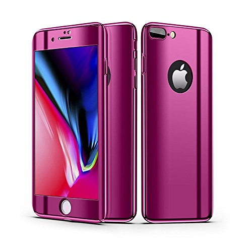 Leagway iPhone 8 7 Case Cover, Ultra Slim Electroplate 360 Degree Full Body Protection Anti-Scratch Mirror Case With Tempered Glass Screen + Hard PC Protector for Apple iPhone 7/8 (Purple)