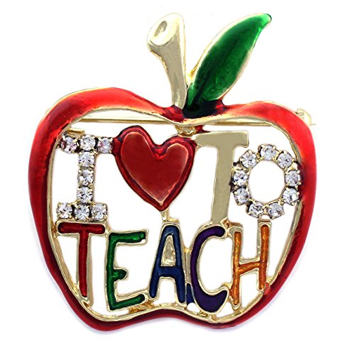 Pin Teacher Brooch - cocojewelry I LOVE To TEACH Apple Brooch Pin Necklace Pendant Gift for Teachers (I Love To Teach)