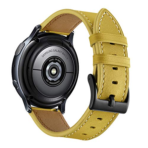 Aottom Compatible for Samsung Galaxy Watch 42mm Band Leather 20MM Smart Watch Replacement Band Metal Bracelet Wristband for Samsung Galaxy Watch Active 40mm / Galaxy Watch 42mm / Gear Sport