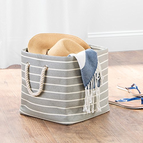 mDesign Fabric Storage Cube with Handles for Blankets, Pillows, Clothing, Towels - Gray/Cream