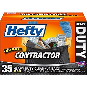 Hefty Contractor Heavy Duty Clean-Up Bags, 42 gallon, 35 count