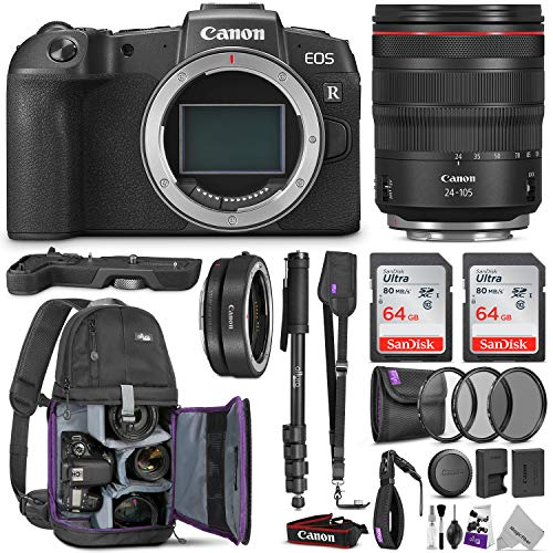 Canon EOS RP Mirrorless Digital Camera with 24-105mm Lens w/Canon Mount Adapter + Canon Extension Grip & Advanced Photo and Travel Bundle