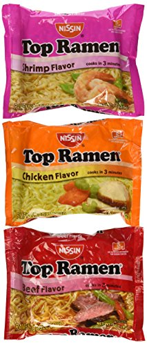 Nissin Top Ramen Oodles of Noodles Soup 3 Flavors,5ea. Chicken Flavor 5ea. Beef Flavor 5ea. Shrimp Flavor for a Total of 15- 3oz. Packages (Nissin Chicken Ramen compare prices)