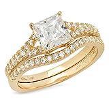 2.21 Ct Princess Cut Pave Halo Bridal Engagement Promise Wedding Bridal Anniversary Ring Band Set 14K Yellow Gold, Clara Pucci