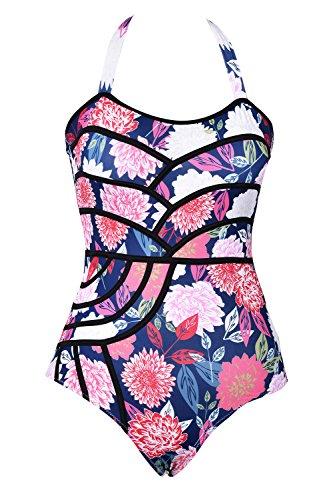 CUPSHE Women's Colourful Fireworks Print One-Piece Swimsuit Beach Swimwear (Small (USA 4/6))