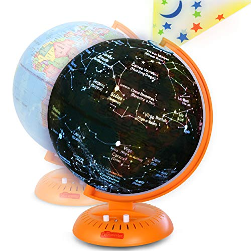 Little Experimenter Globe for Kids: 3-in-1 World Globe with Illuminated Star Map and Built-in Projector, 8