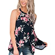 Womens High Neck Floral Tank Tops Flowy Halter Top Cami Shirt Casual Sleeveless Blouse