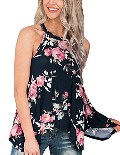 Poptem Womens High Neck Floral Print Tank Tops Flowy Halter Top Casual Blouse Sleeveless Shirt (Shirt New Sexy Womens Top)