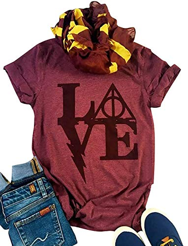 Womens Halloween Harry Potter Tshirt Funny Love Letter Print Short Sleeve Graphic Crew Neck Tee Tops Blouse (XX-Large, Wine -