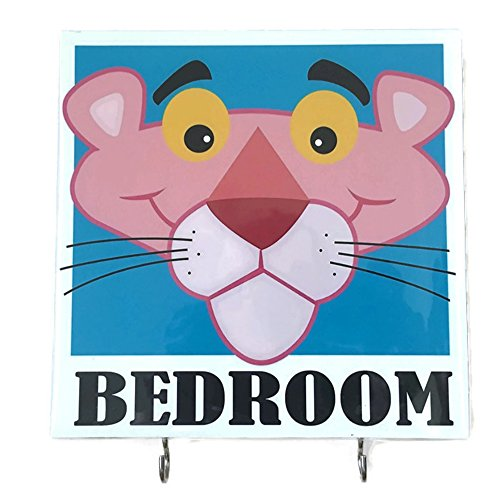 Agility Bathroom Wall Hanger Hat Bag Key Adhesive Wood 2 Hooks Vintage Pink Panther Tiger Bedroom's Photo ()