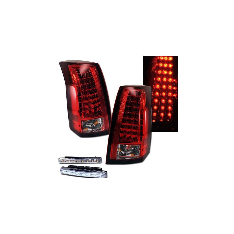 2003 2007 CADILLAC CTS SEDAN REAR BRAKE TAIL LIGHTS RED/CLEAR+LED BUMPER RUNNING