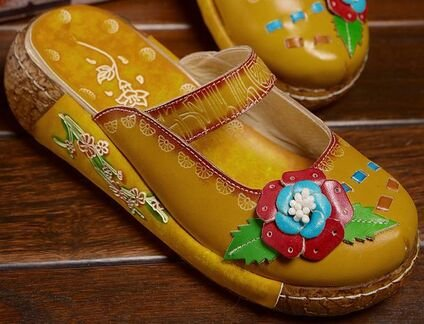 Leather Slippers Yellow Laruise Women's Women's Laruise 1XwqwItY