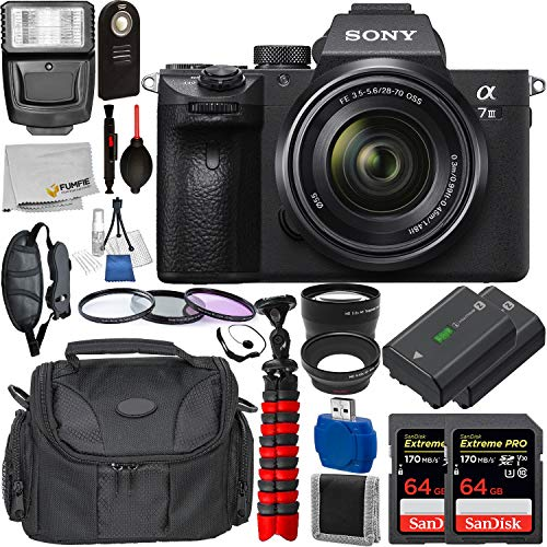 Sony Alpha a7 III Mirrorless Digital Camera with 28-70mm Lens with Deluxe Accessory Bundle – Includes: 2X SanDisk Extreme PRO 64GB Memory Card, Replacement Battery for Sony NP-FZ100, Much More