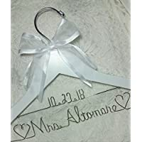 Wedding Dress Hanger choice of 12 Bow Colors - Personalized Bride Name Silver wire - White Wood Bridal Bridesmaid Gift With or Without Wedding date