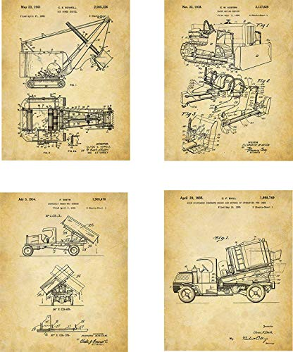 Construction Truck Patent Wall Art Prints - set of Four (8x10) Unframed - wall art decor for big truck fans
