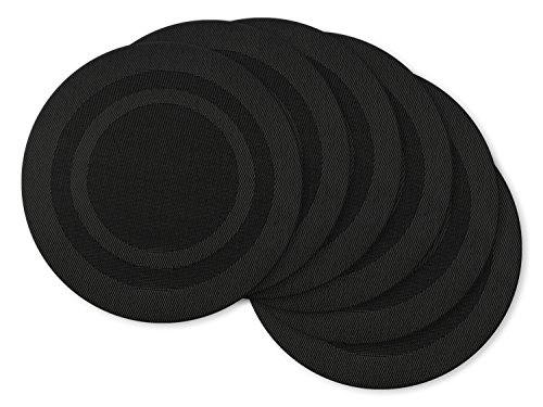 DII Stain Resistant Washable Vinyl Round Placemat, Set of 6, Double Border Black - Perfect for Halloween, Dinner Parties, BBQs and Everyday -