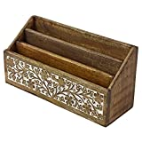 Indian Heritage Letter/Mail Sorter 6.2x12.5 Carved Mango Wood Design in White and Natural Wood Finish