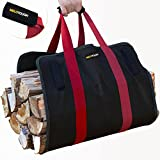 Firewood Log Carrier Ballistic Log Tote Bag,Super Stronger Than Canvas Firewood Carrier Log Tote Bag Melo Tough Plus 1 Pair Cotton Glove